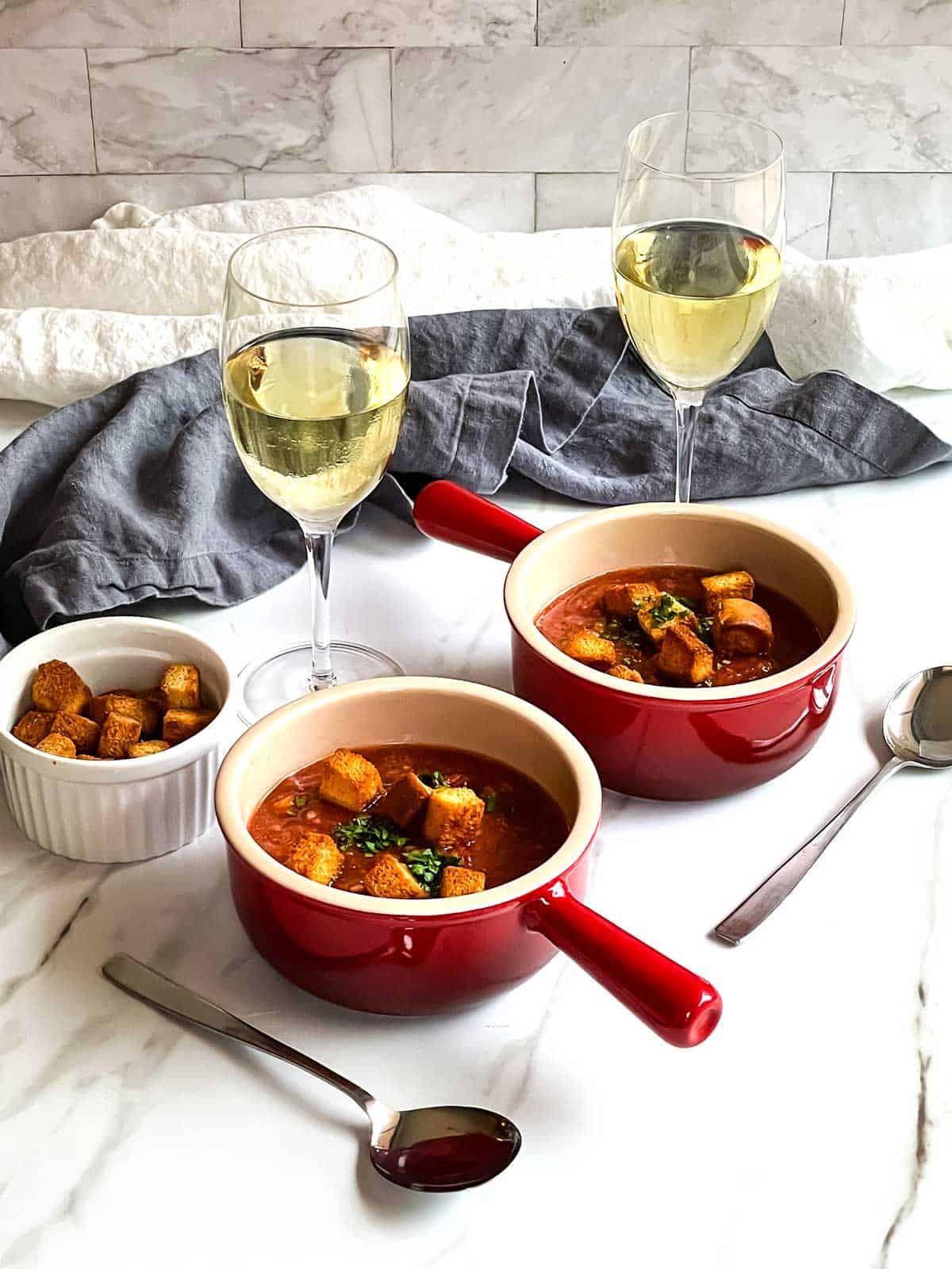 Gazpacho Soup with garlic croutons.