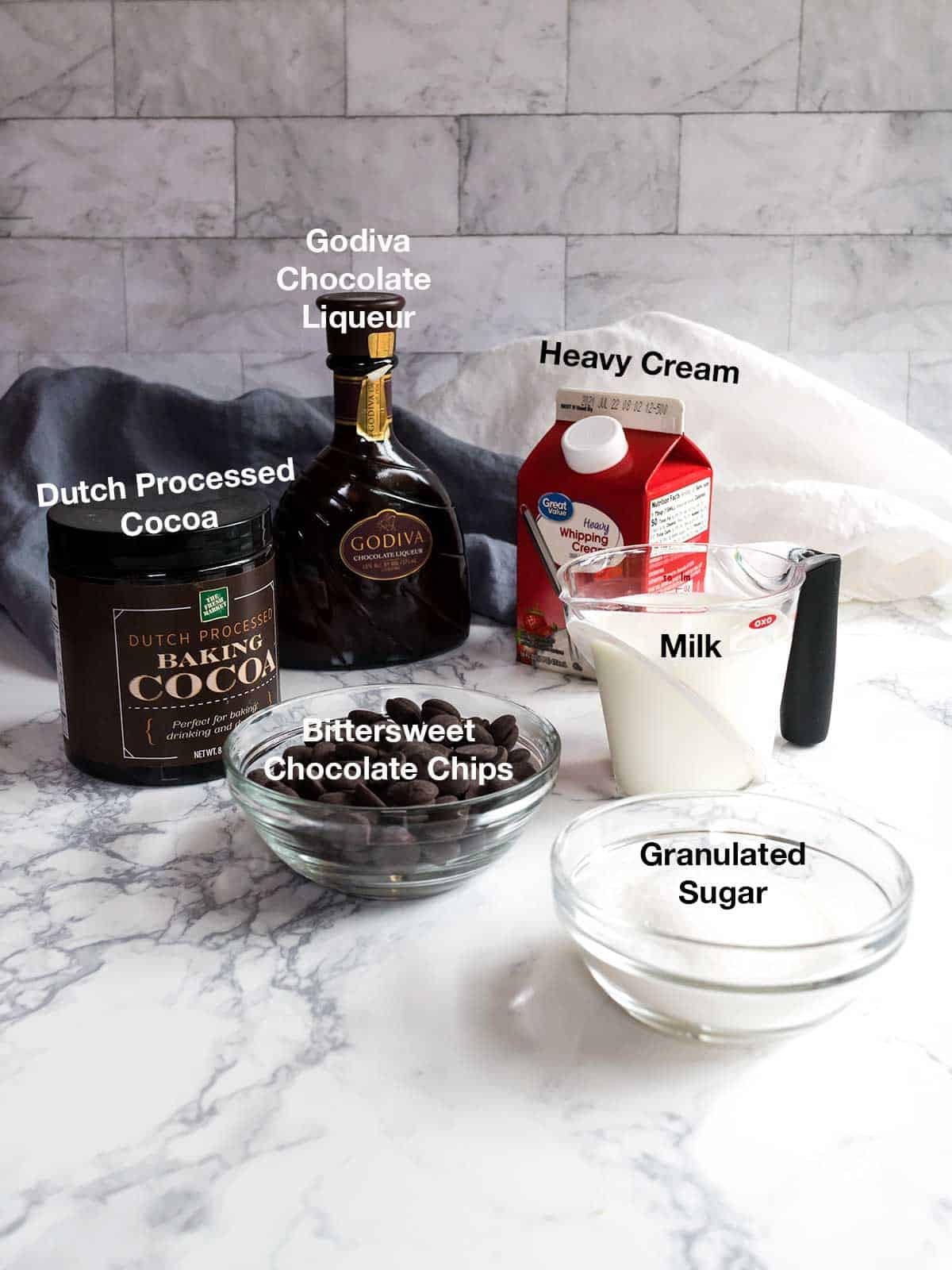 Ingredients for Triple Chocolate Ice Cream
