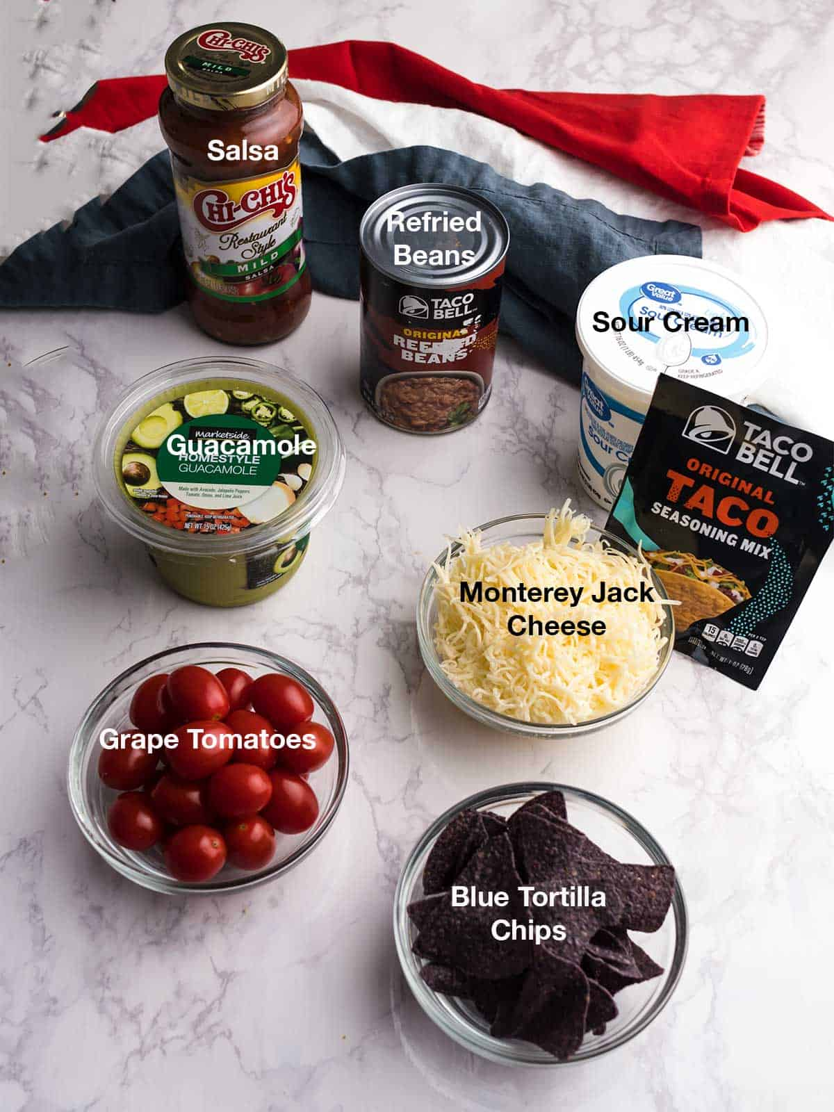 Ingredients for 7-Layer Flag Dip