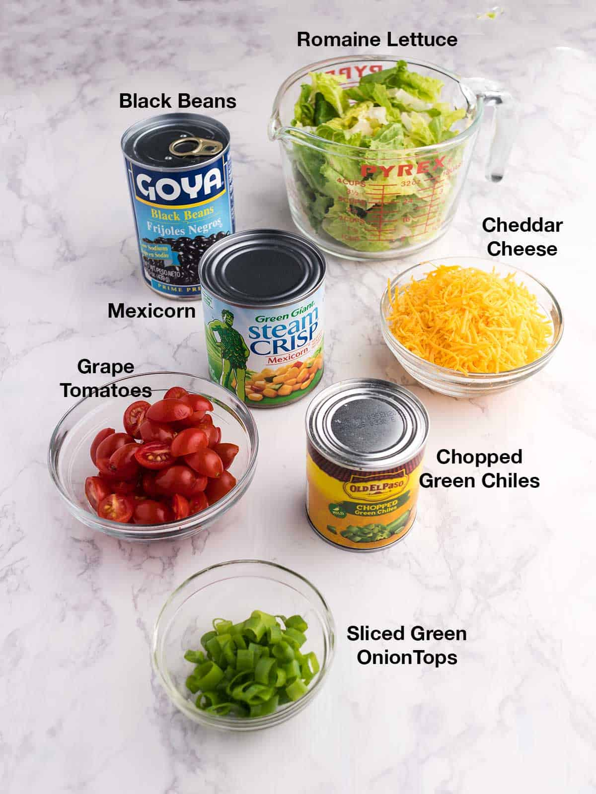 Ingredients for layered salad
