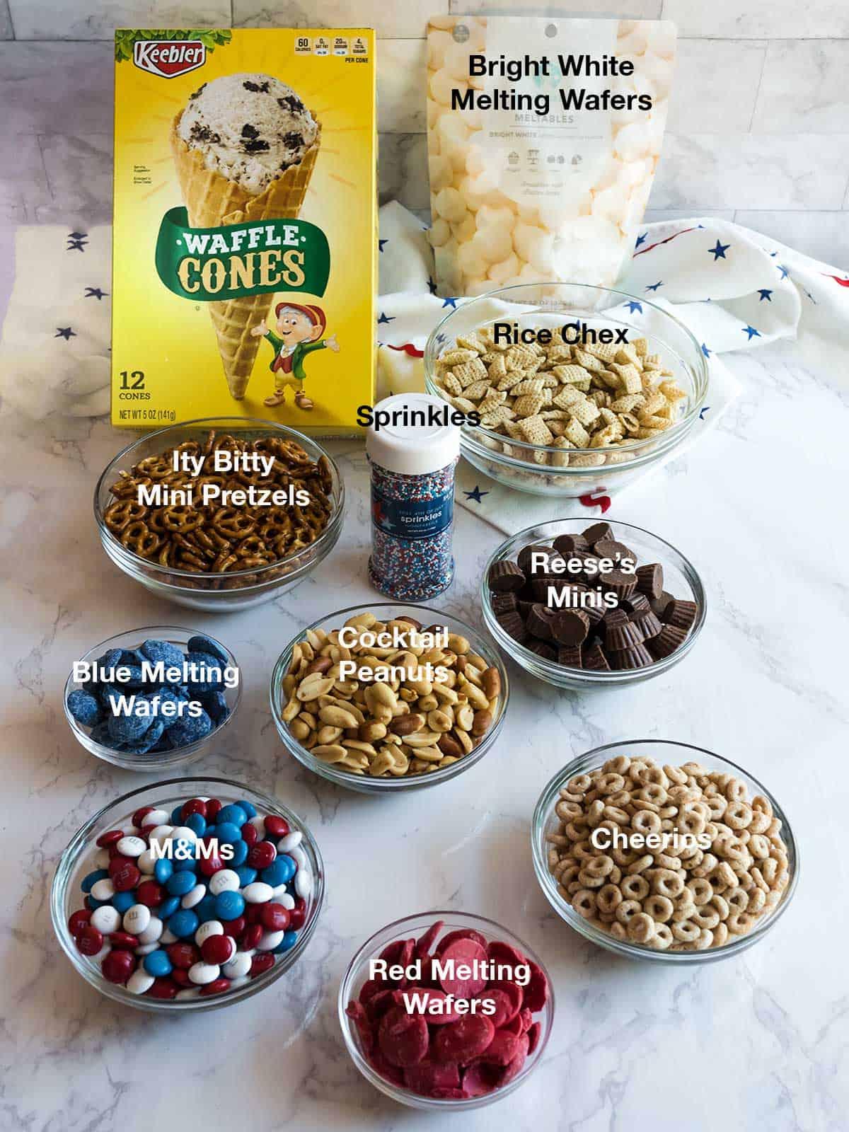 Ingredients for Patriotic Snack Mix Cones