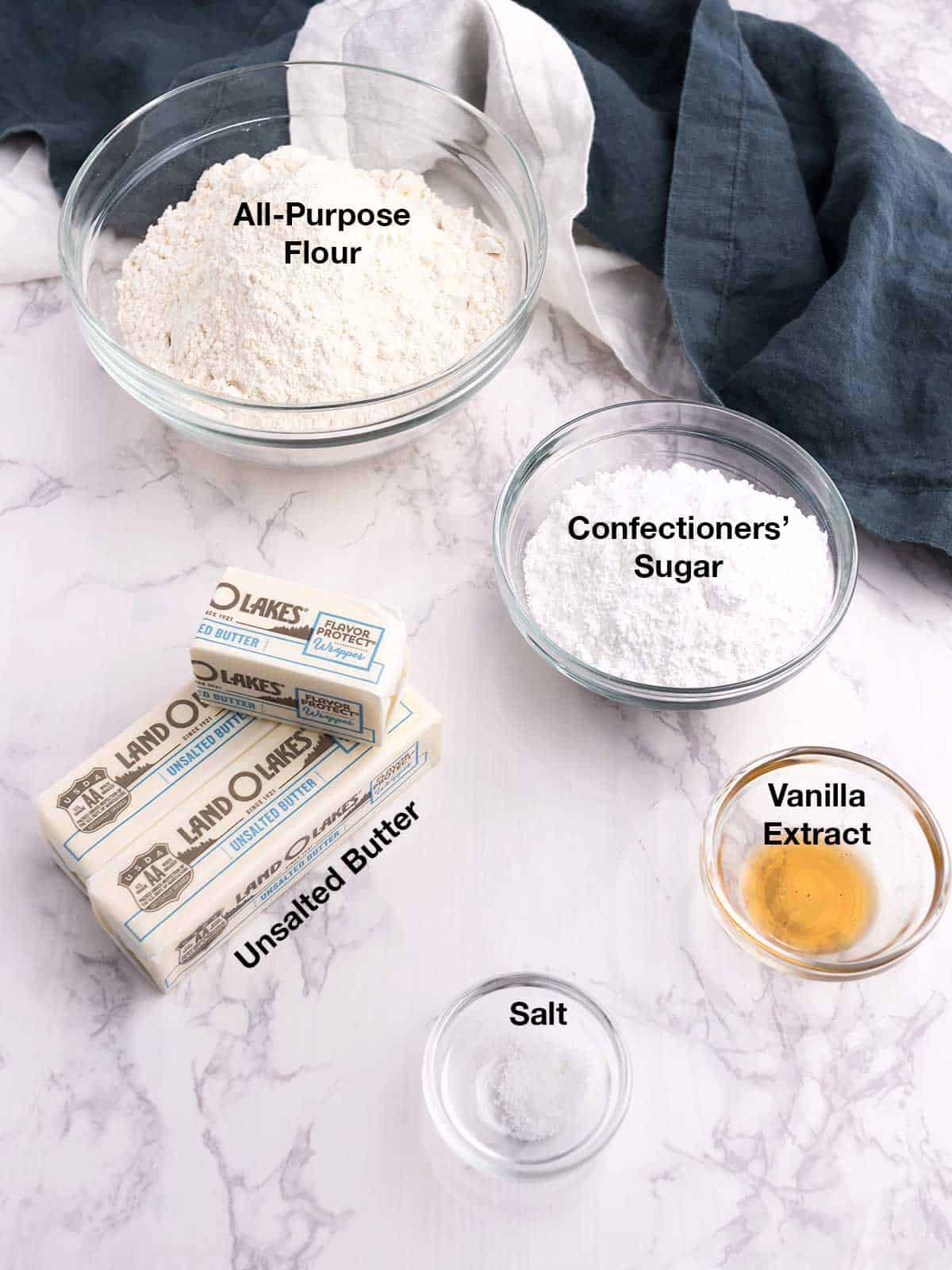 Ingredients for Melt-Away Butter Cookies
