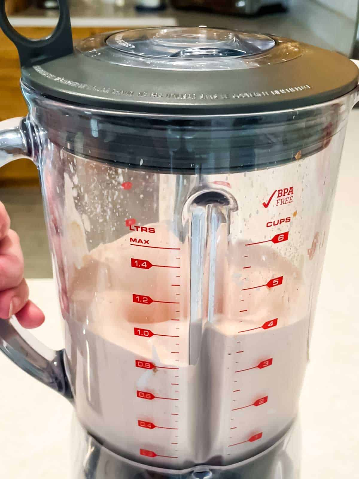 Making the dressing in the blender for the salad