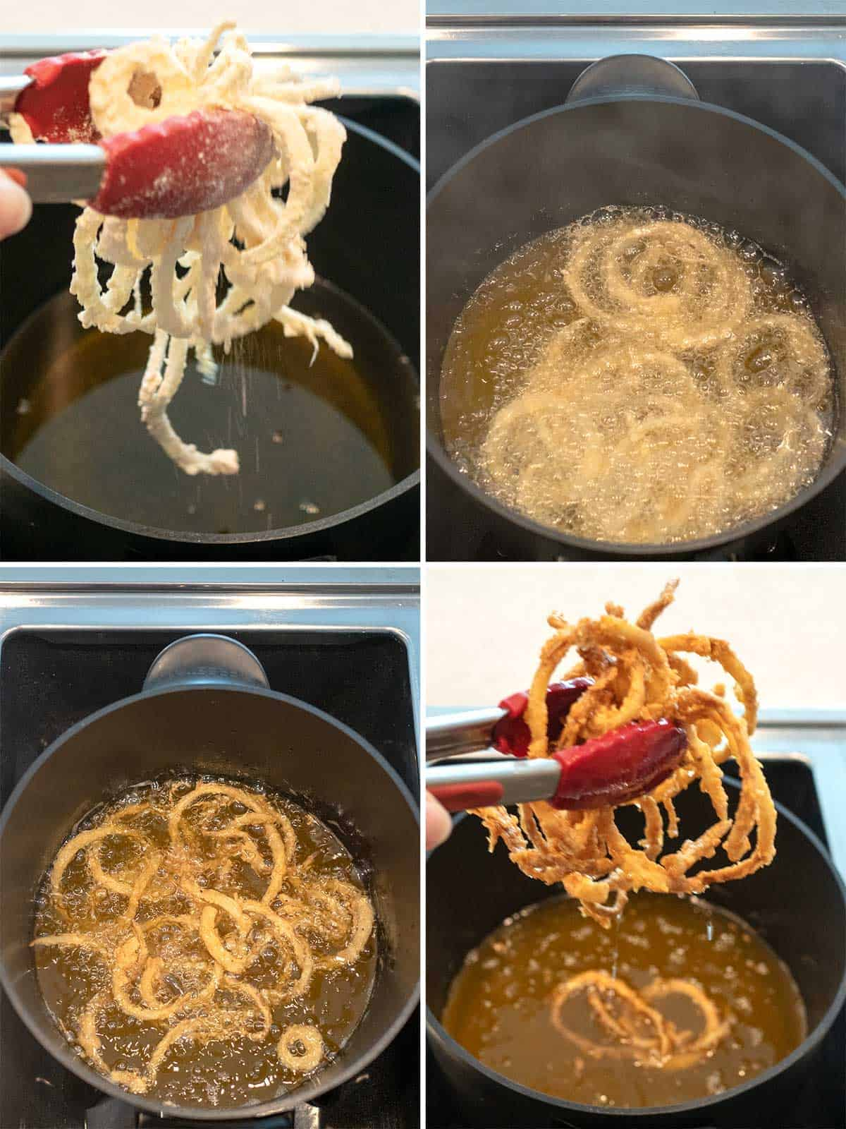 Cooking the onion strings in hot oil.