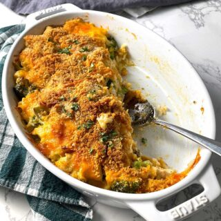 Chicken Rice and Broccoli Casserole with spoon.
