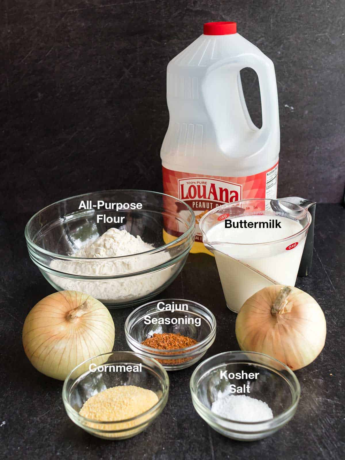 Ingredients for onion stings.