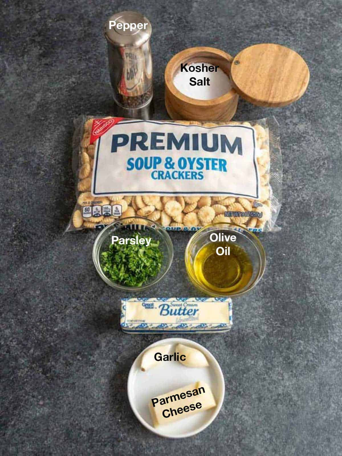 Ingredients for Garlic Parmesan Oyster Crackers