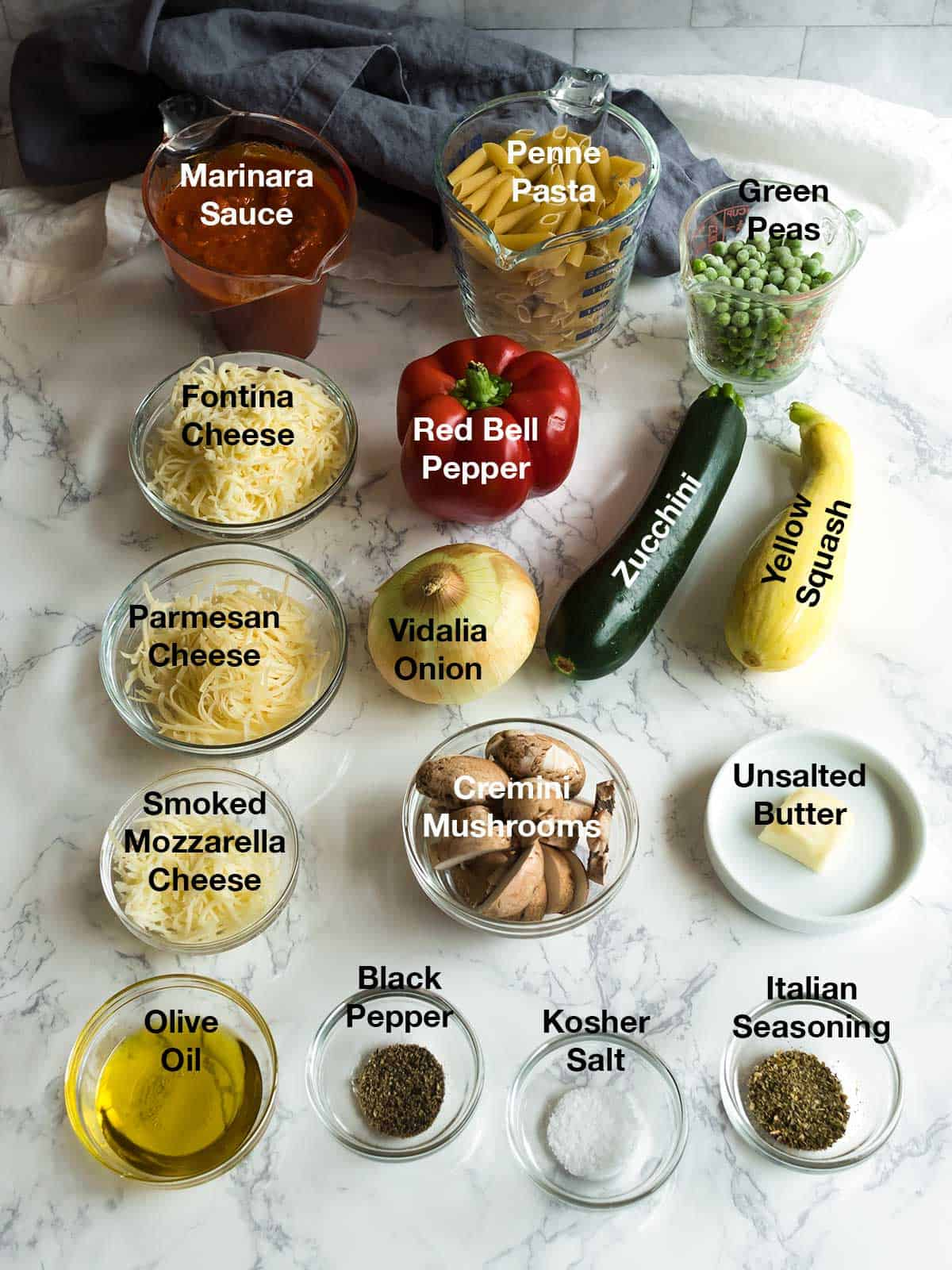 Ingredients for Cheesy Penne with Roasted Vegetables