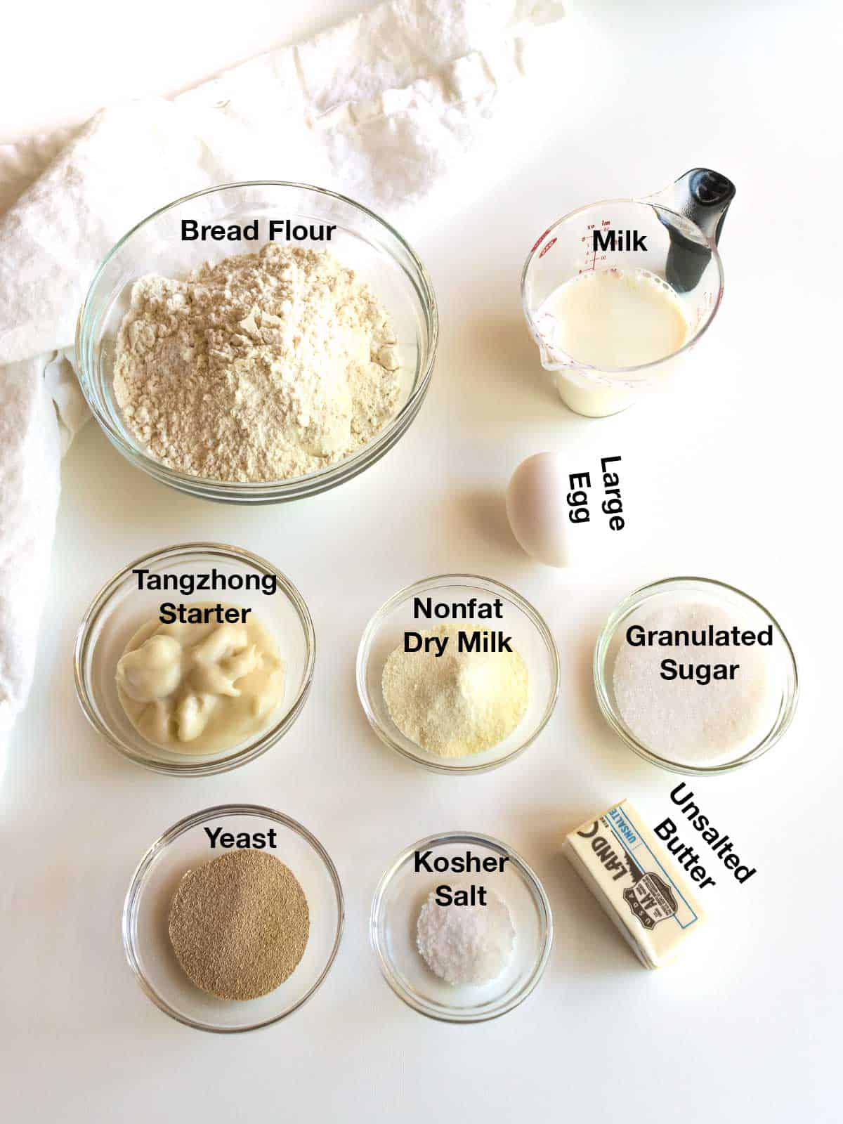 Ingredients for milk bread rolls