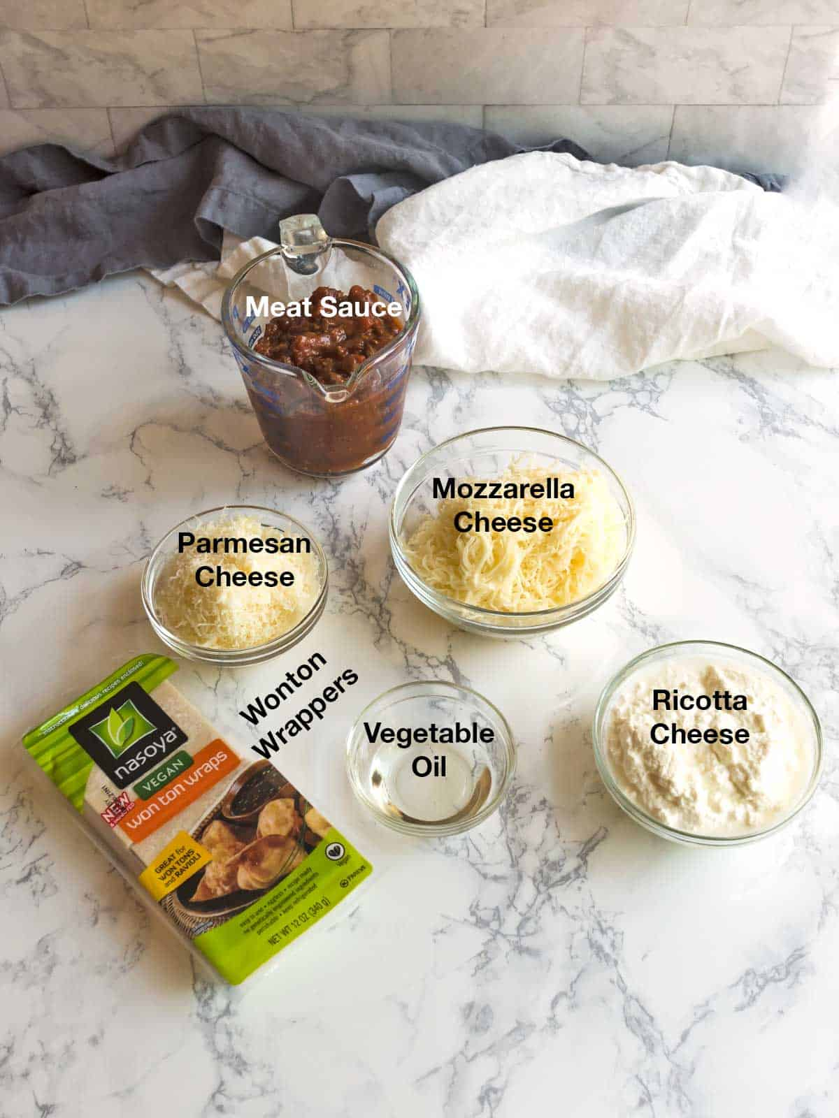 Ingredients for Easy Lasagna Cups