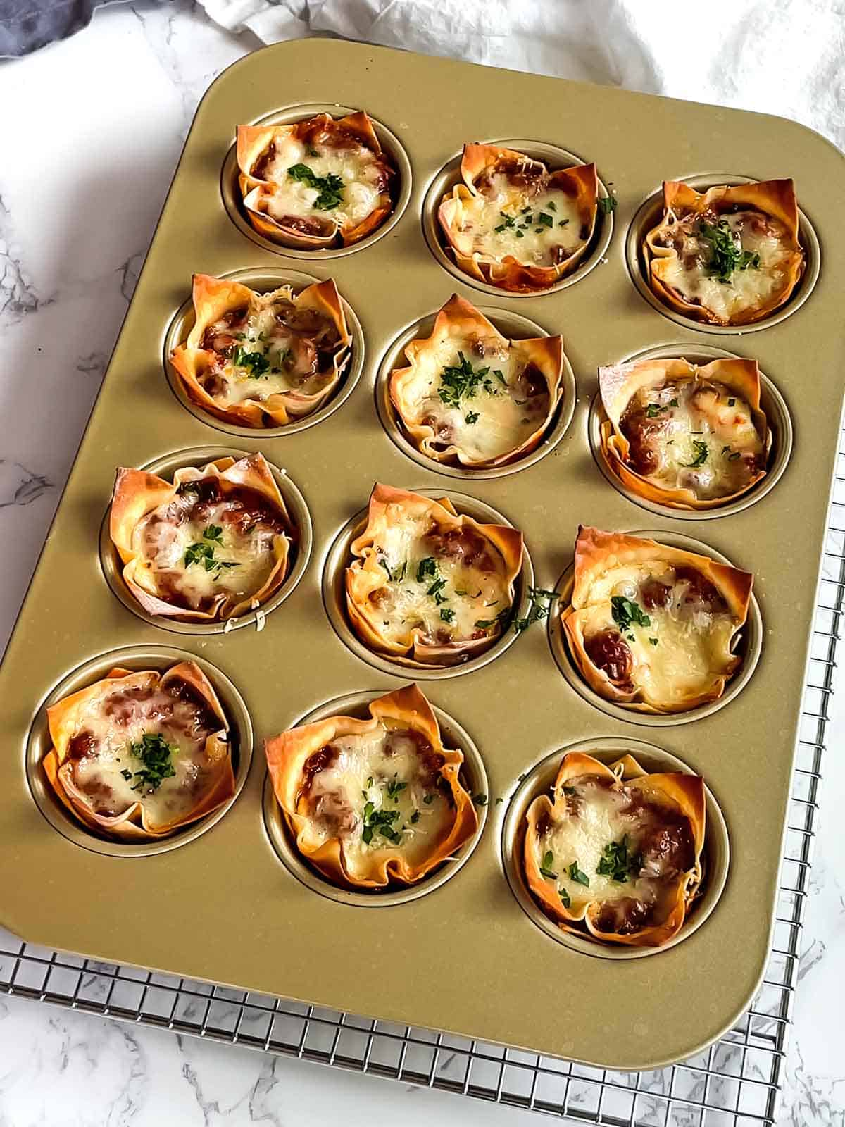 Lasagna cups out of the oven.