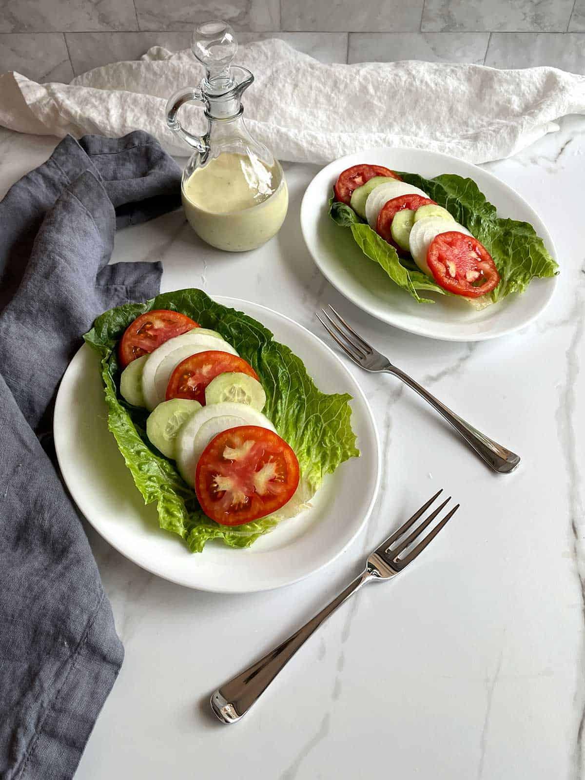 Tomato, Vidalia onion and cucumber summer salad.