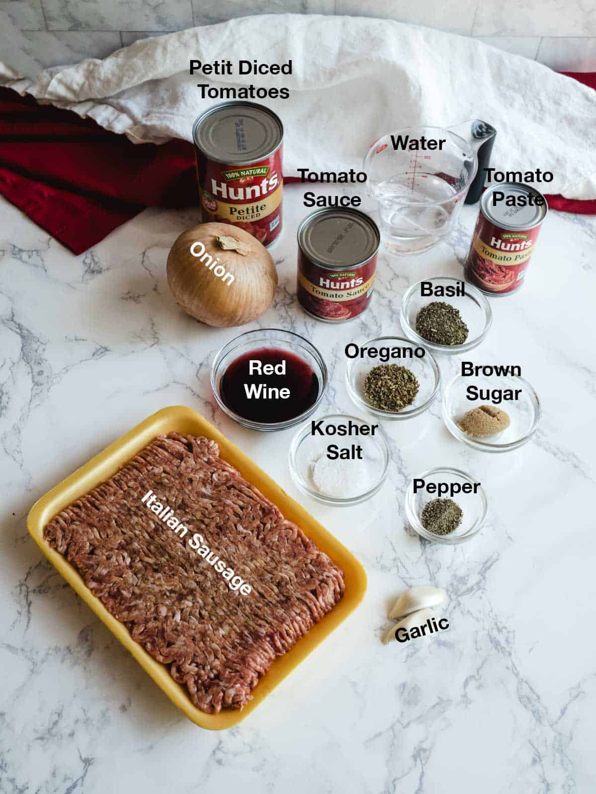Ingredients for the meat sauce