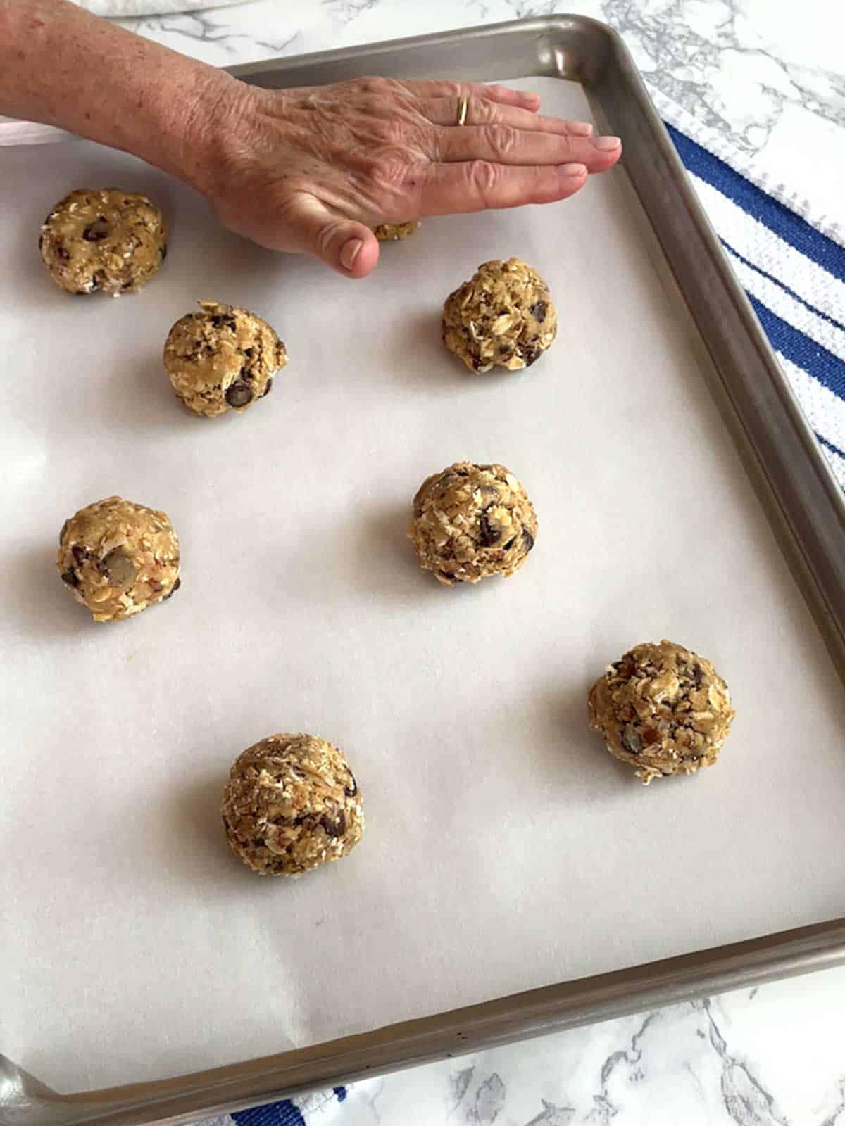 Flattening dough to ½-inch