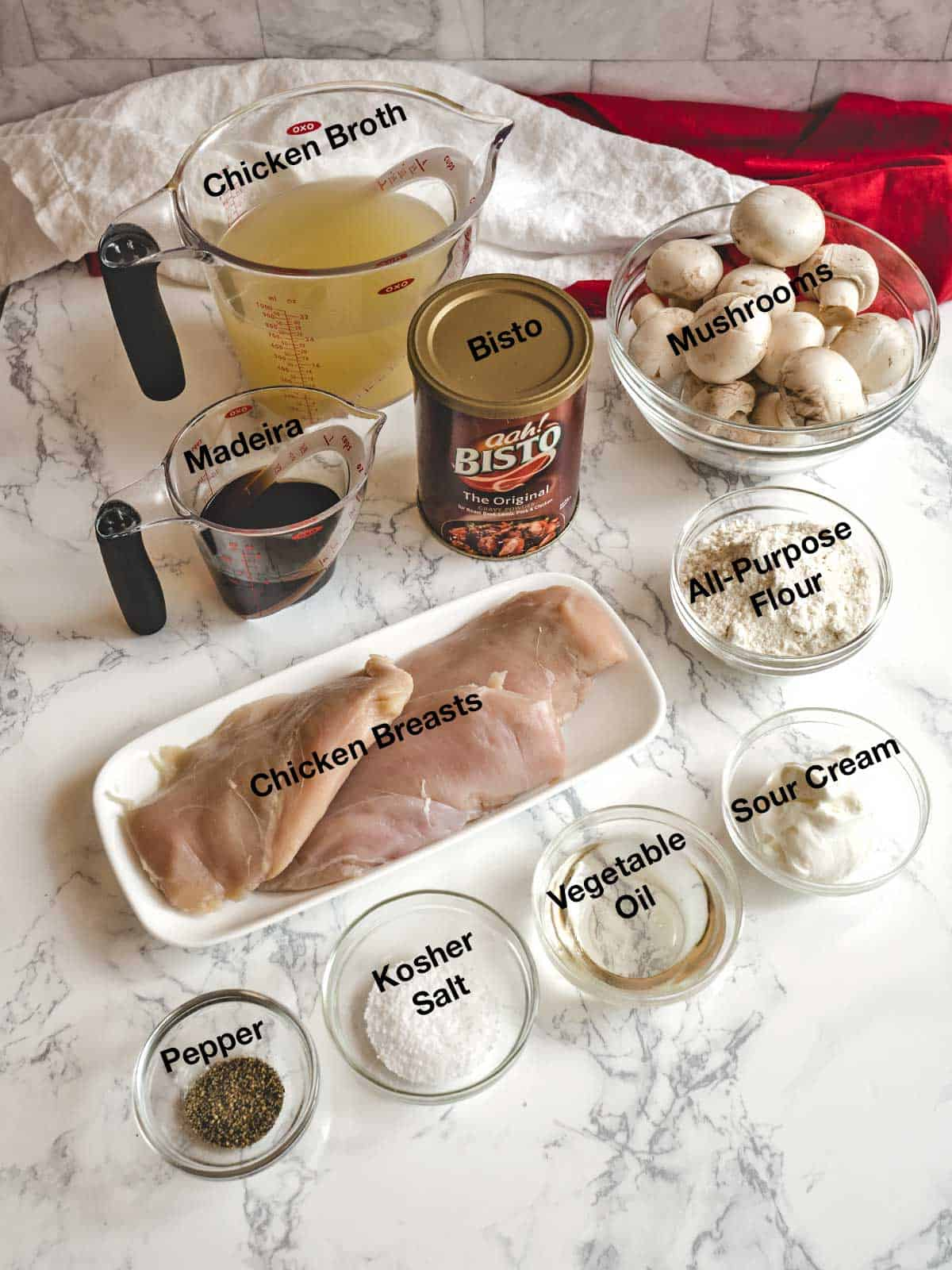 Ingredients for chicken Scallopini