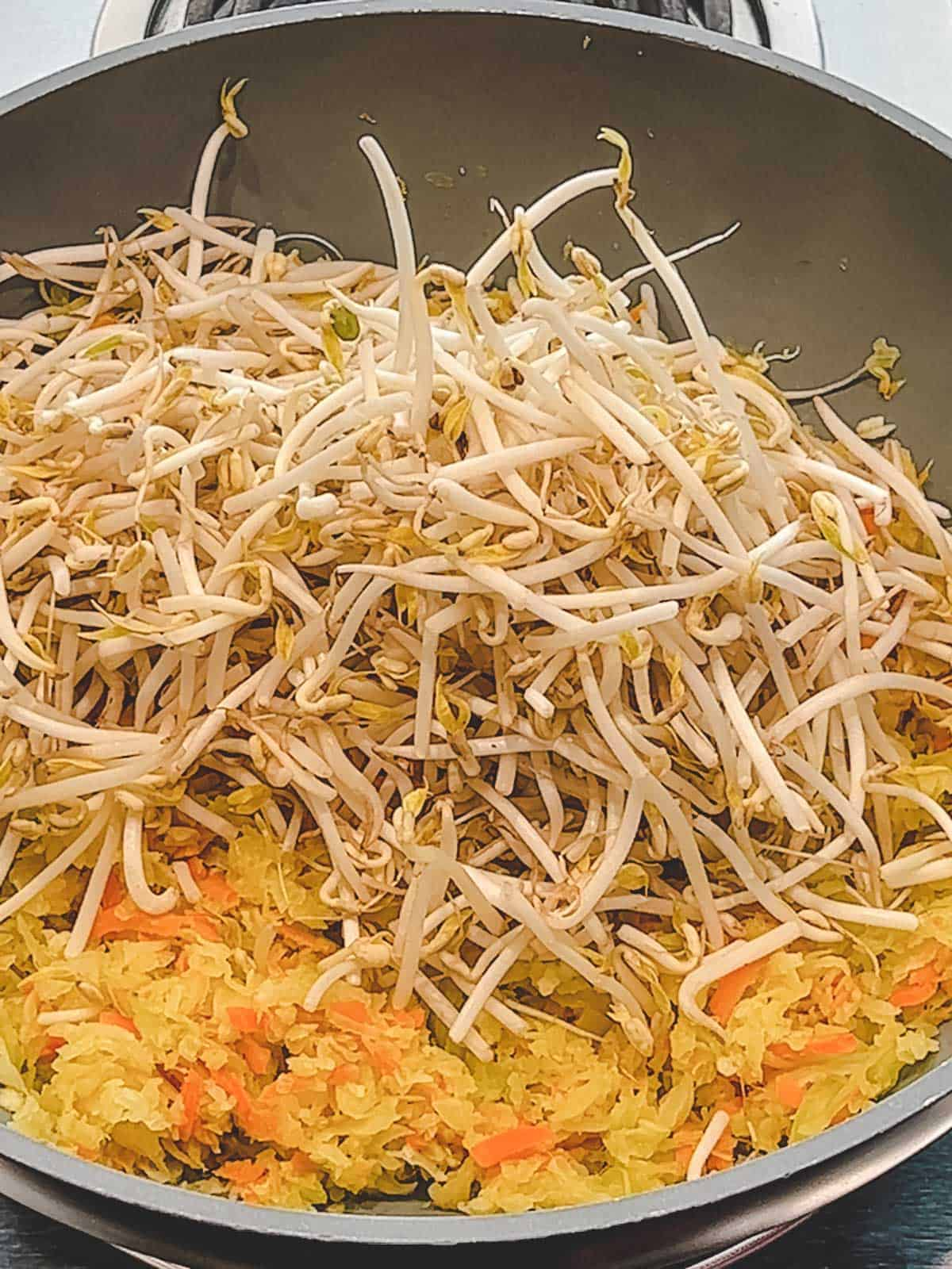 Bean sprouts added to veggie spring roll filling.
