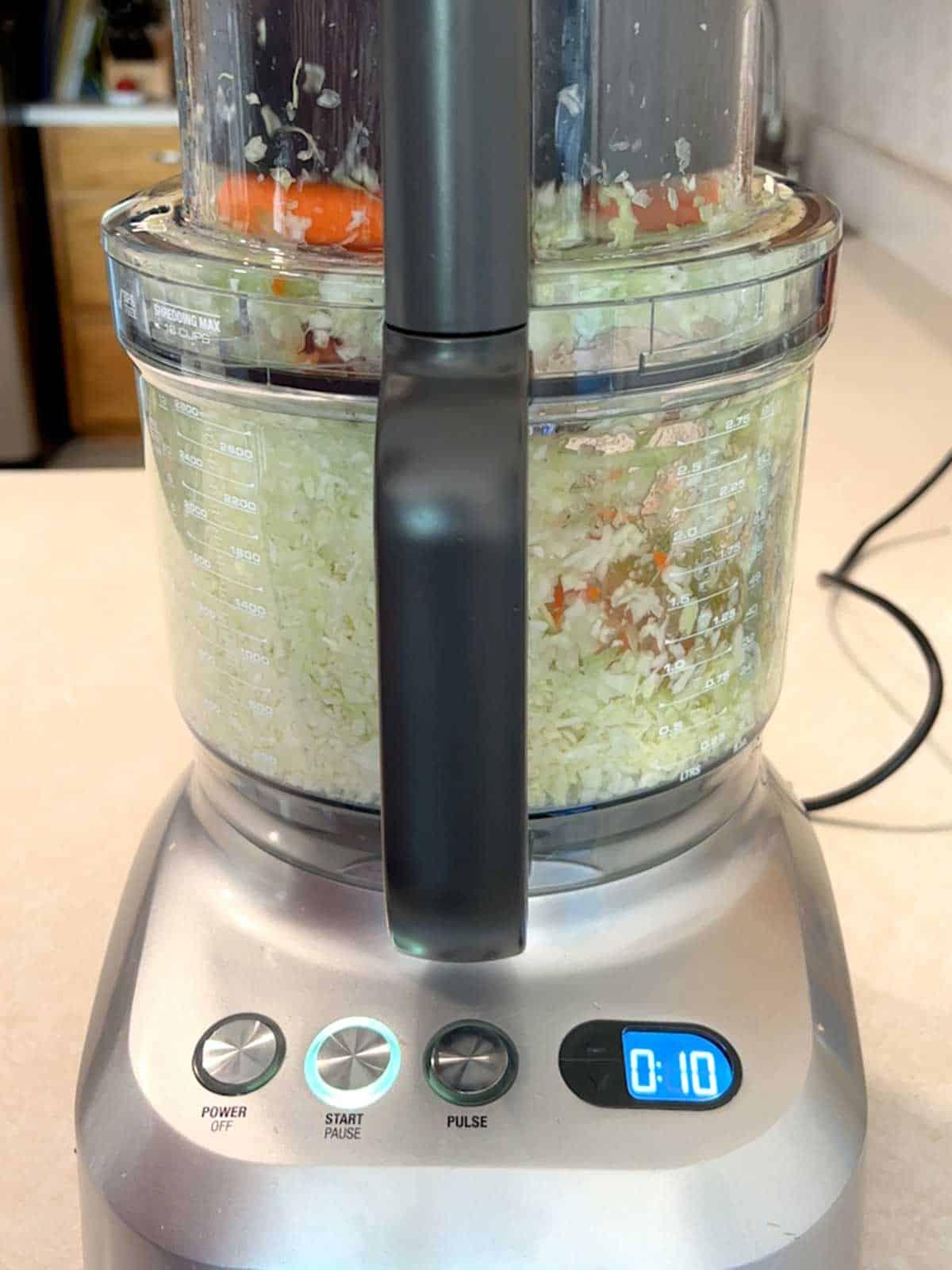 Shredding veggies for spring rolls.