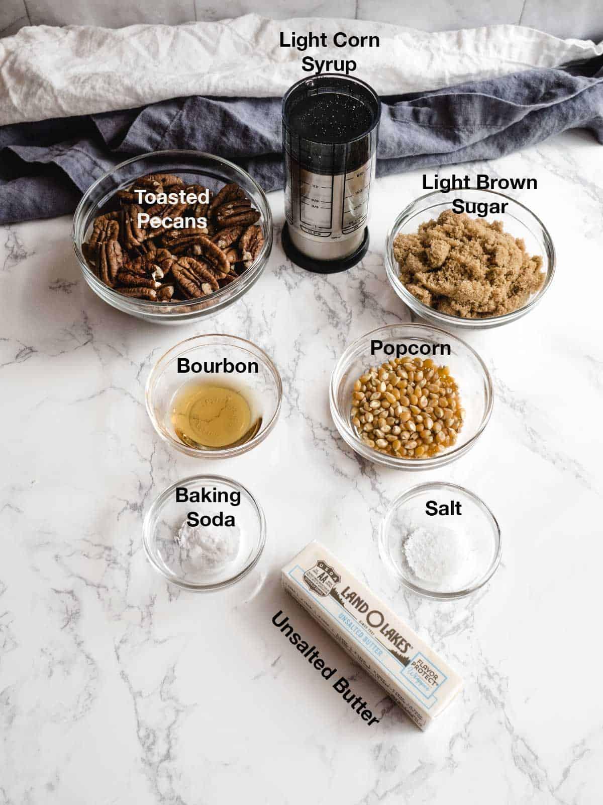 Ingredients for Bourbon Pecan Praline Popcorn
